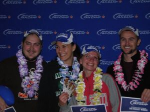 Winners of the Bud Light Fan Camp in Cleveand: (From L to R) Matthew Russel, Ariana Ramic, Pennie Short, Brandon Laughlin